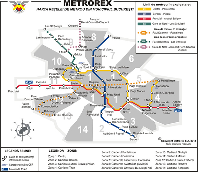 Harta metrou, harta Bucuresti cu statii metrorex